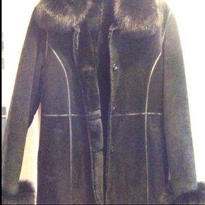 Jackets & Blazers - Black Shearling Suede Leather Fox Fur Coat Jacket